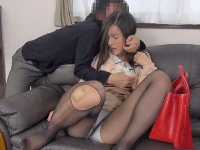 【エロ動画】黒パンストを破られ隣人に凌辱レイプされるスレンダー巨乳人妻の古川いおり