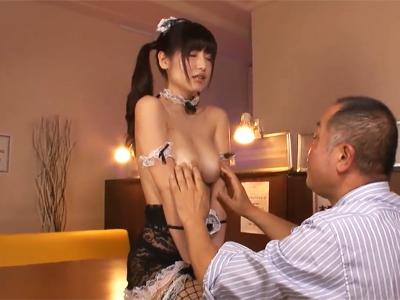 【エロ動画】巨乳メイドの桜空ももがローションまみれの肉棒を手コキ&パイズリで刺激!